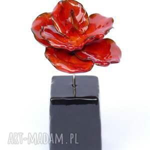 pomarańczowe ceramika ozdobny ceramiczna róża czerwona