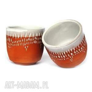 czerwone ceramika czarki ceramiczne 2 szt - strugane