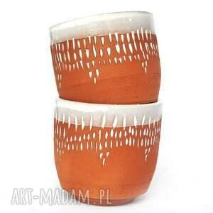 naczynia ceramika ceramiczne czarki 2 szt - strugane