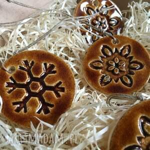 prezenty na święta ceramika komplet 5 ozdób choinkowych w całości ręcznie