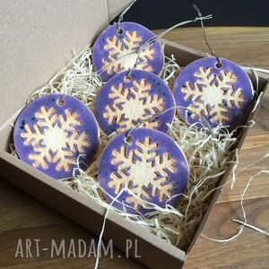 świąteczny prezent ceramiczne śnieżynki