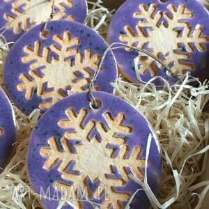 świąteczny prezent święta ceramiczne śnieżynki