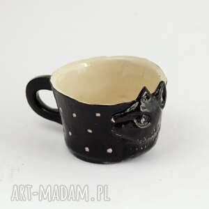 czarnykot ceramika ceramiczny kubek z kotem - czarny