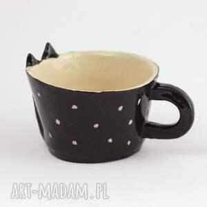 unikatowe ceramika kubek ceramiczny z kotem - czarny