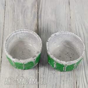 zielone ceramika harbata czarki biało-zielone raku