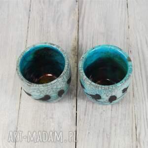 turkusowe ceramika czarki ptaszki raku