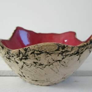 hand made ceramika mała miseczka czerwona jak skała