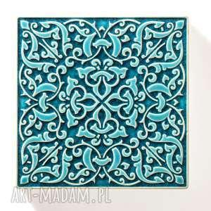 ceramika: dekory adagio turkusowe do zawieszenia, 9 sztuk - marokańskie