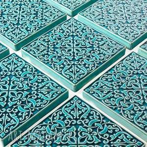 ceramika: dekory adagio turkusowe do zawieszenia, 9 sztuk - marokańskie kafle