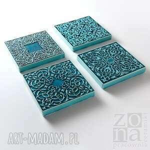 niebanalne ceramika dekory cztery ornamenty turkusowe