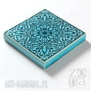 kafle ceramika dekory cztery ornamenty w turkusie.