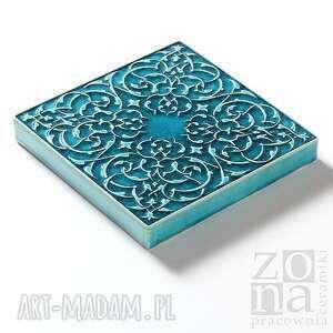 ceramika ceramiczne dekory cztery ornamenty turkusowe