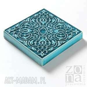 ceramika kafle dekory cztery ornamenty w turkusie.