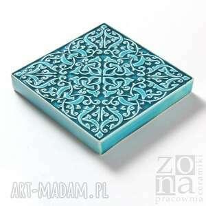 trendy ceramika kafle dekory cztery ornamenty w turkusie.