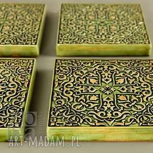 atrakcyjne ceramika kafle dekory grave zielone do zawieszenia