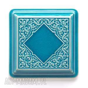 ceramika: dekory XL cztery turkusowe