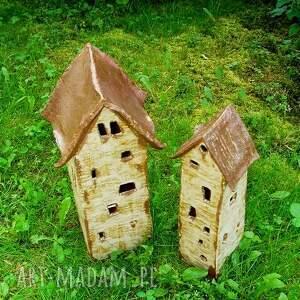 brązowe ceramika dom domy - świeczniki