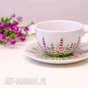 fioletowe ceramika ręcznie malowana duża filiżanka motyw