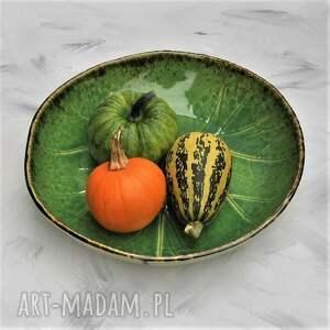 brązowe ceramika misa duża liść
