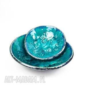 niebieskie ceramika esy floresy turkusowe miski