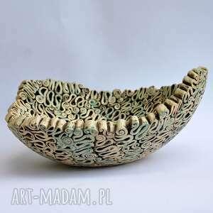 brązowe ceramika patera fantazyjna misa