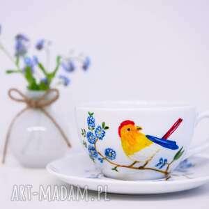 ceramika ptak duża ręcznie malowana filiżanka do kawy