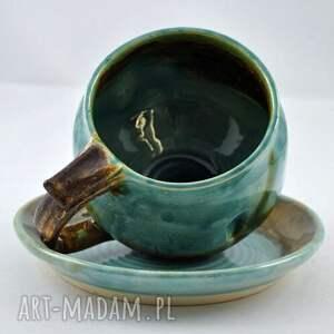 turkusowe ceramika filiżąnka filiżanka z talerzykiem jt3