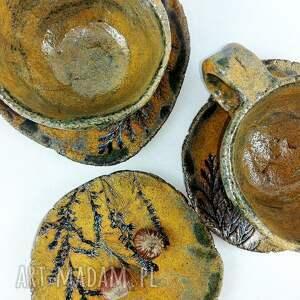 ceramika kawa filiżanki 2 szt. i talerzyk