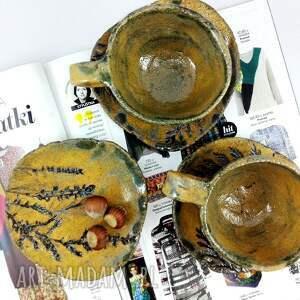handmade ceramika filiżanka filiżanki 2 szt. i talerzyk