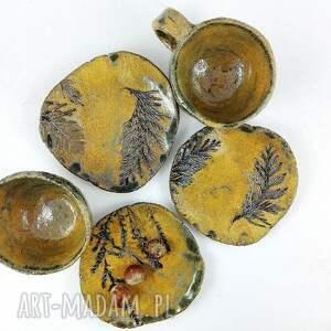brązowe ceramika herbata filiżanki 2 szt. i talerzyk