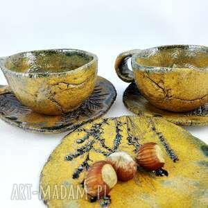 handmade ceramika kawa filiżanki 2 szt. i talerzyk