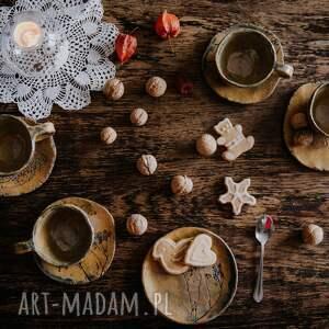 kawa ceramika filiżanki 2 szt. i talerzyk