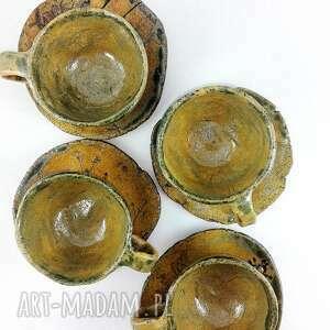 brązowe ceramika herbata filiżanki 4 szt