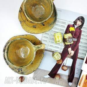 beżowe ceramika dekoracje filiżanki 2 szt