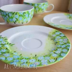 ceramika dla dwojga filiżanki dla pary niezapominajki
