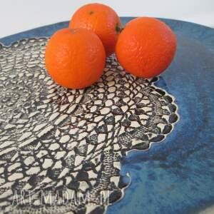 czarne ceramika ceramiczny granatowa patera z koronką