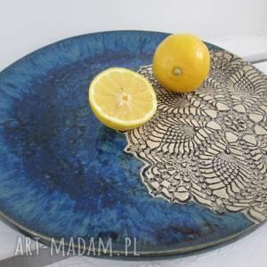 hand made ceramika koronkowa granatowy koronkowy talerz