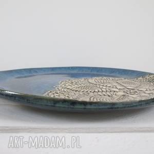 koronkowa ceramika niebieskie granatowy koronkowy talerz