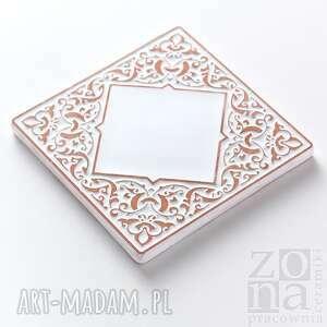 handmade ceramika płytki kafle białe arabeski, zestaw ii