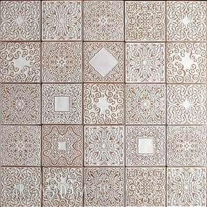 handmade ceramika kafle białe arabeski, zestaw ii