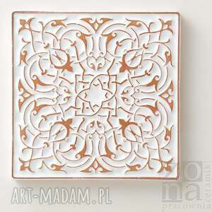 ręczne wykonanie ceramika płytki kafle białe arabeski, zestaw ii