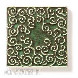 ceramika dekory kafle ciemno zielone, dwanaście