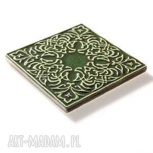 dekory ceramika kafle ciemno zielone, dwanaście