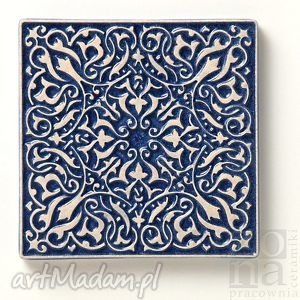 gustowne ceramika płytki kafle ciemnoniebieskie arabeski