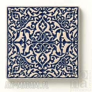 ceramika płytki kafle ciemnoniebieskie arabeski