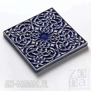 płytki ceramika kafle ciemnoniebieskie arabeski