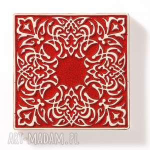 handmade ceramika kafle czerwone arabeski 25 sztuk
