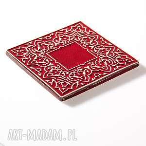 ceramika dekory kafle czerwone arabeski 25 sztuk