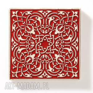 handmade ceramika dekory kafle czerwone arabeski 25 sztuk
