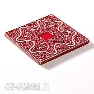 dekory ceramika kafle czerwone arabeski 25 sztuk